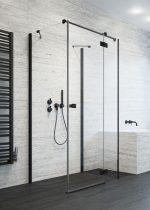 Radaway Essenza New Black KDJ+S szögletes fekete zuhanykabin