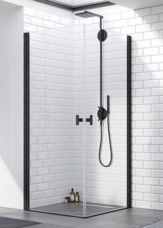 Radaway Nes Black KDD I szögletes fekete zuhanykabin