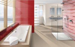 Piros fürdőszobák